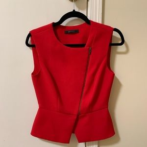 BCBGMAXAZRIA Red Top with Zipper Detail